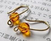 Topaz Earrings in Golden Red Brass