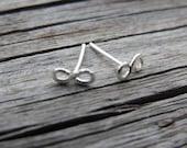 Tiny Infinity Loop Post Earrings Minimalist - Sterling Filled