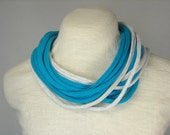 Turquoise and Heather Gray Infinity Scarf Made with Upcycled Soft Cotton Jersey - FREE SHIPPING in USA