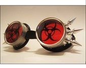 Biohazard (Custom Lens and Spike) Cyber Goth Burning Man Rave Steampunk Goggles