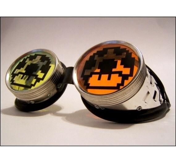 Mario Mushroom Goggles Cyber Goth Rave Goggles UV 1UP