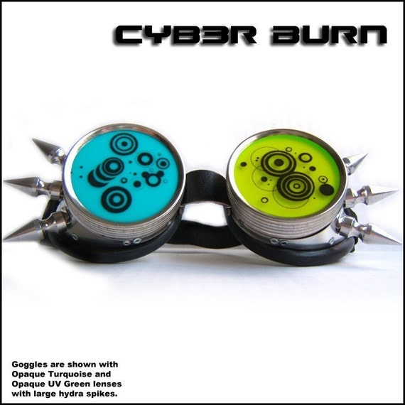 Circle Vector Steampunk Cyber Goth Goggles with Spikes