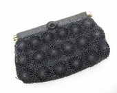 Vintage Clutch, Lord and Taylor, Black Rattan Flowers Purse, Side Hinged