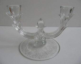 Vintage Candlestick Holder Viking New Martinsville Pressed Etched Glass Double Prelude Design