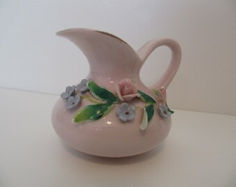 Vintage Pink China Pitcher with 3D Flowers Royal Windsor Small Capodimonte