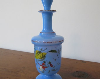 Antique Blue Opaline Victorian Bristol Glass Decanter with Stopper