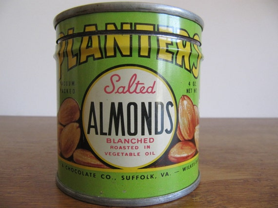 """Rare Vintage Planters """"Salted Almonds"""" Tin with Lid, Copyright 1944"""