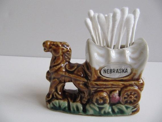Adorable Nebraska Souvenir - Covered Wagon Toothpick Holder