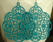Teal - Boho hand painted lacy filigree earring