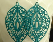 Teal - Boho hand painted lacy filigree leaf earring