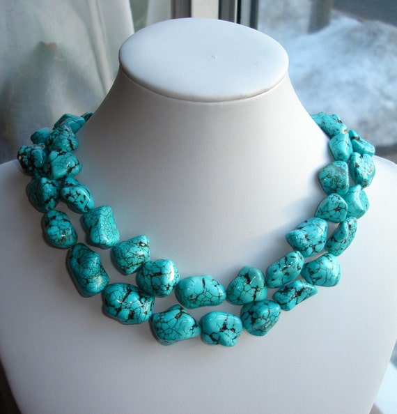 Reserved for Sophia - Megan Fox Inspired Chunky Turquoise necklace