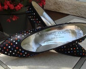 CHARLES JOURDAN multicolor Swarovski crystal black high heels pumps size 8 and a half,size 9 Black Stiletto Evening Clubbing Shoes