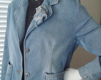 Classic Faded Light Blue Denim Fitted Jacket/Jean Blazer size Medium Large Free Shipping