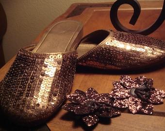Metallic Bronze Sequins Slippers size 10