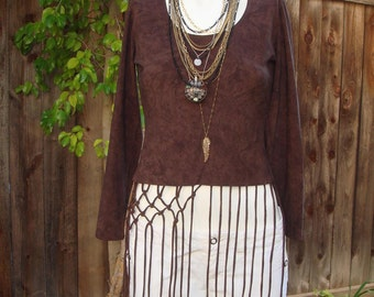 Boho Frayed Brown Stretch Top size Small