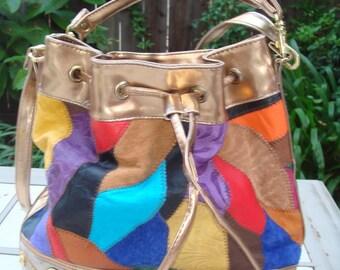 HARLEQUIN Multicolor Leather Patchwork  Bucket Purse