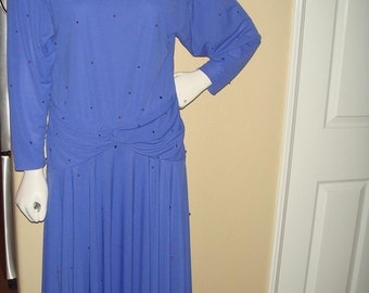 Purple Drapped Flapper Dress embellished with pearls and rhinestones Size Medium/Large