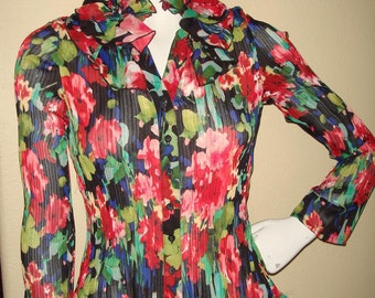 Sheer Floral Print Pleated Blouse Shirt with Frill Size XSmall/Small