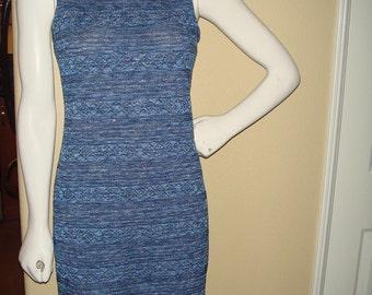 Blue Metallic Knit Stretch Mini Dress size Small/Medium