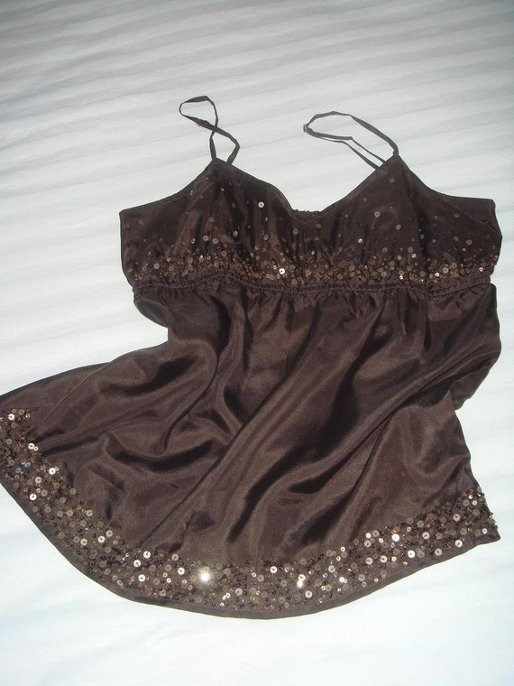 Silk Brown Top with Sequins/Tank/Baby Doll/Empire waist/Size Small/Medium