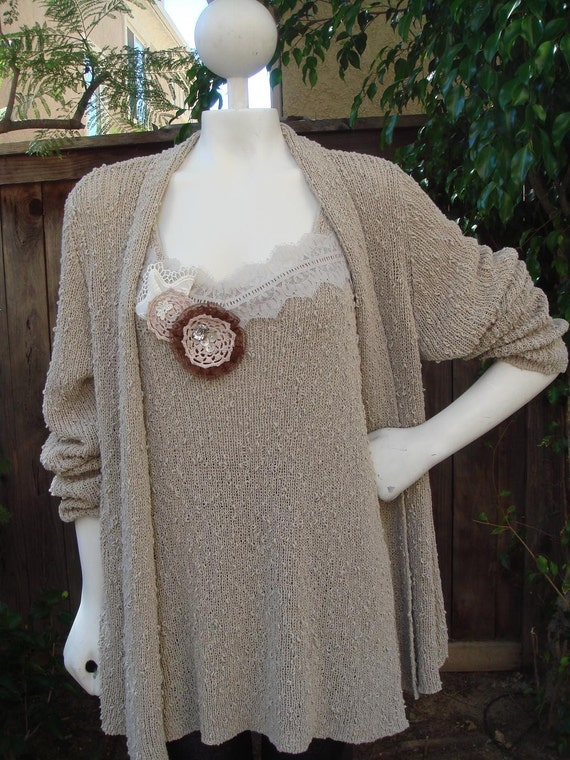 Neutral Beige Knit Long Sweater Coat Cardigan with  Embellished Tank/2 pieces Sale Free Shipping