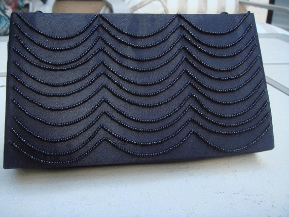 90's Victoria's Secret Black Beaded Satin Cluch