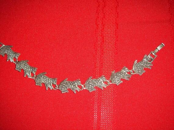 Silver Marcasite Walking Cats Bracelet