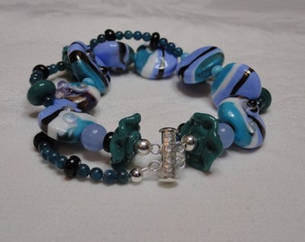 Waves of Teal Lampwork and Apatite double strand Bracelet