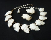 Lisner Vintage White Feathery Leaf Choker and Earring Set