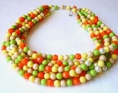 Orange, Yellow, Lime Green 7 Strand Bead Necklace 1960s