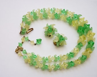 Bright West Germany 2 Strand Necklace Earrings Green and Yellow