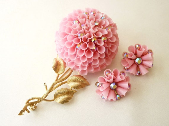 RESERVED Vendome Pink Floral Brooch Earrings with Pink AB Rhinestones