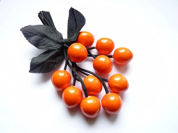 1980s Orange Pin 4 Inches with Black Leaves