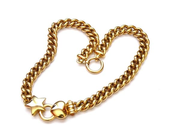 1980s Gold Tone Choker Necklace  Star and Heart Accents