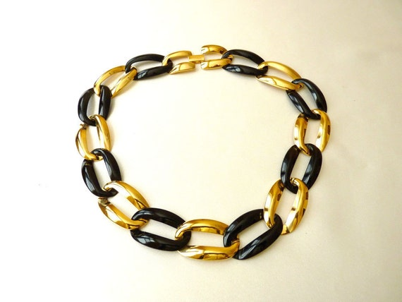 Napier Vintage Chain Necklace in Black and Gold Tone