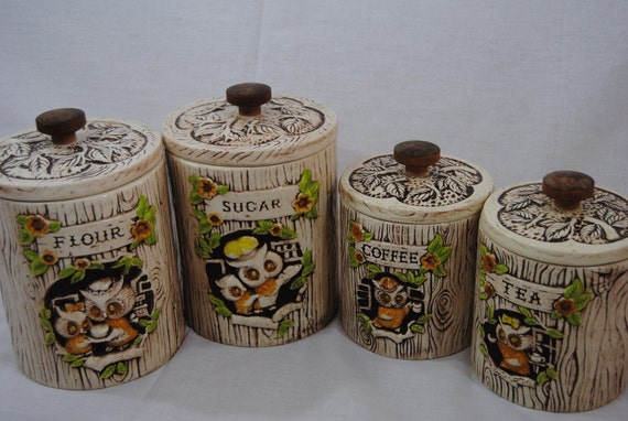 Adorable Treasure Craft Owl Kitchen Canisters Set Of 4