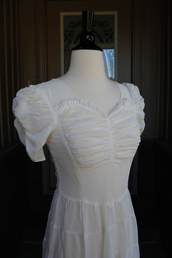 Reserved for Elly Antique 1910s 1920s Sheer White Dress Nightgown Size Extra Small
