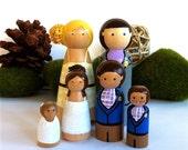 Custom Family of 6 Wedding Cake Topper Family Cake Topper Personalized Family Wedding Cake Toppers Wooden Cake Topper