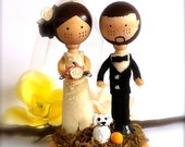 Wedding Cake Topper Bride + Groom + Pet Dog Cat Custom Cake Topper Clothespin Dolls Cute Wedding Topper Mr and Mrs