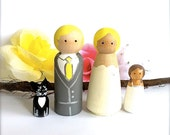 WEDDING CAKE TOPPER Custom Family of 4 Cake Topper Peg Dolls Wooden Cake Topper Family Peggies Peg People Cake Topper Family Cake Topper