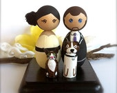 KOKESHI WEDDING TOPPERS Bride Groom 2 Pets Wedding Cake Topper Custom Kokeshi Dolls Wooden Cake Topper
