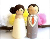 WEDDING CAKE TOPPER Custom Bride and Groom Wood Peg Dolls Large Peg People Cake Toppers Keepsake Personalized CreativeButterflyXOX