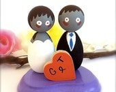 Kokeshi Dolls Zombie Wedding Cake Toppers Bride Groom Custom with Stand Personalized Heart Wood Peg Japanese Style Anime Halloween