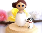 Custom Kokeshi Birthday Cake Topper Japanese Style Doll Birthday Girl and Pet Dog or Cat Personalized Party Outfit Wood Peg Doll Toy