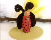 Ladybug Wood Peg Doll Ladybird Wooden Toy Peg People Birthday Cake Topper Waldorf Miniature Dollhouse Cute Bug Insect Felt Girls Play Time