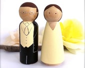 Cute Custom WEDDING CAKE TOPPERS Bride and Groom Cake Topper Peg Dolls Wooden Cake Topper Custom Wedding Cake Topper Peggies Personalized