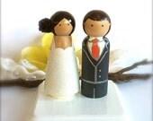 Bride and Groom WEDDING CAKE TOPPER Wood Peg Dolls Custom Large Peg People Wedding Cake Toppers Cake Toppers People Cake Topper