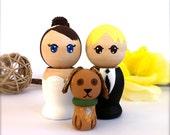 Kokeshi WEDDING CAKE TOPPER with Pet Custom Wedding Cake Topper Kokeshi Topper Cake Topper Large Kokeshi Dolls  Japanese Doll