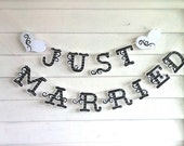 Just Married Banner Glitter Just Married Garland Sparkle Wedding Day Banner Wedding Bunting ust Married Sign Wedding Reception Decoration