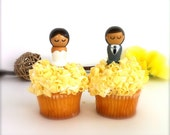 Wedding Cupcake Toppers Semi Custom Kokeshi Dolls Bride and Groom Wooden Doll Cupcake Toppers Wedding Cake Topper